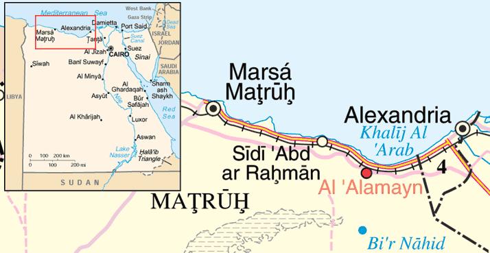 Mappa della costa, riferita a un periodo posteriore a quello della battaglia; si noti che la ferrovia non termina a El Alamein ma prosegue per Marsa Matruh e oltre