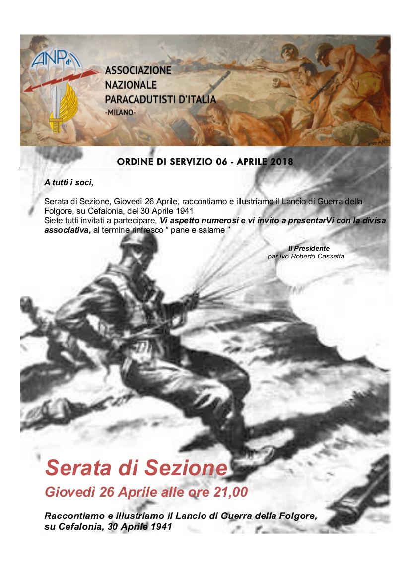 Ordine di Servizio 06 - Aprile 2018 Serata di sezione 03